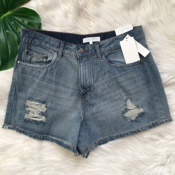 Abound Pants - Abound High Rise Cut Off Denim Blue Jean Shorts